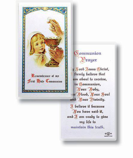 First Communion Prayer, Girl Laminated Holy Card