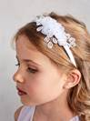 First Communion Satin Wrapped Headband (no tulle veil)