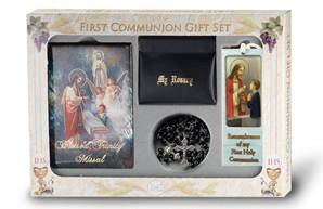 First Communion Set, Black- Blessed Trinity