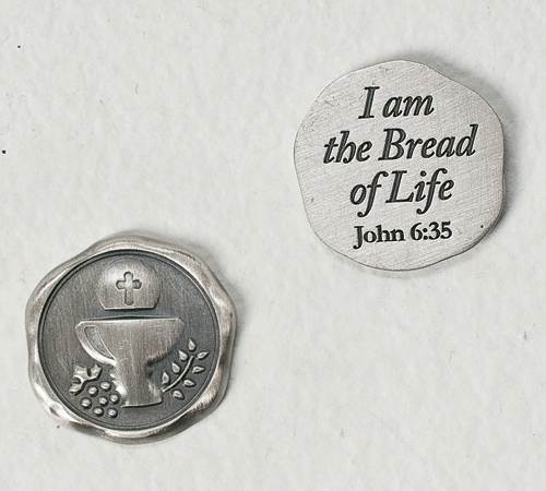 First Communion Wax Seal Look Pocket Token