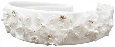 First Communion White Headband ONLY, No Tulle Veil