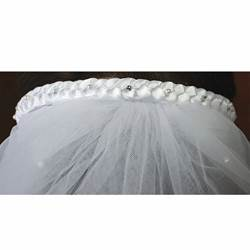First Communion White Headband with Veil
