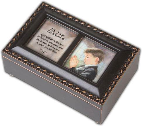 Boys First Communion Wooden Music Boxes first communion gift, first communion music box, first communion picture frame, personalized box, girls music box, boys music box, Ave Maria music, halleujah chorus music,
