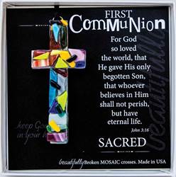 "First Comunion Mosaic 4"" Glass Cross Ornament"