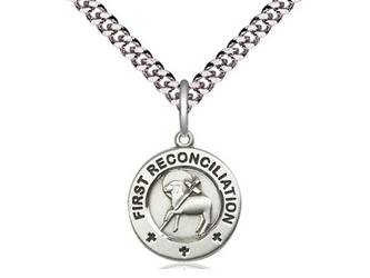 "First Reconciliation / Penance Sterling Silver Medal on 18"" Chain"