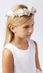 Floral Wreath Crown, Artificial Flower Crown for First Communion with soft white, pink and green accents.