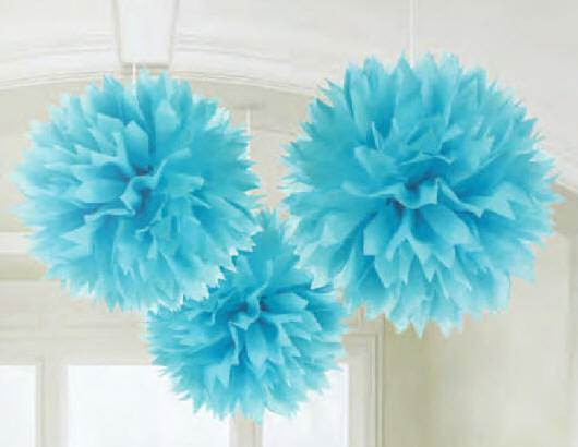 Fluffy Paper Decorations, Blue