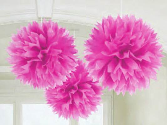 Fluffy Paper Decorations, Bright Pink  18055.103,first commmunion decorations, pink decorations, girl decorations, hanging decorations,partyware, paper product, sacramental party supplies, first communion partyware,boy partyware, girl partyware