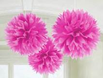 Fluffy Paper Decorations, Bright Pink