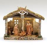 "Fontanini 5"" Scale 4 Figure Nativity Set with Lighted Resin Stable"