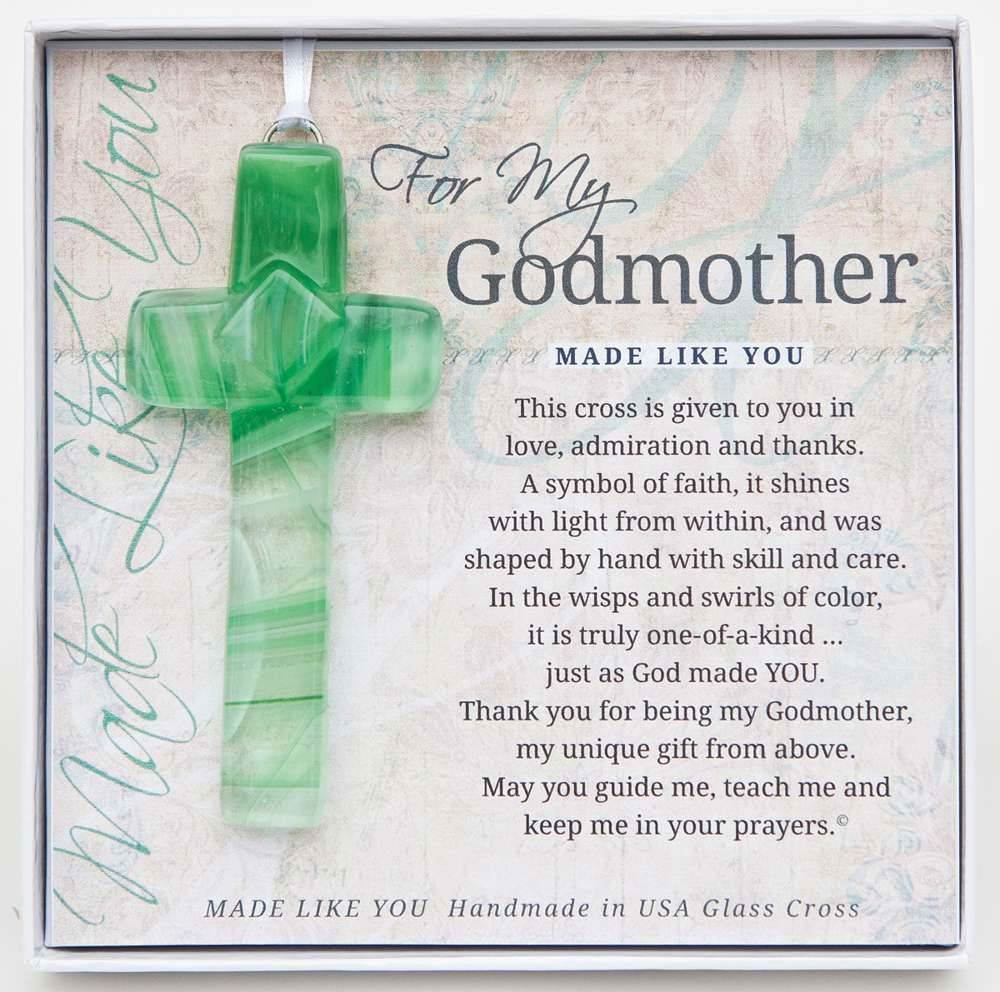 "For My Godmother 4"" Glass Cross"