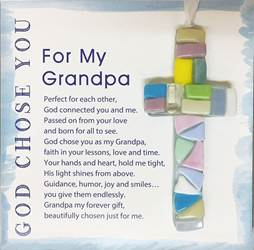 "For My Grandpa, God Chose You 4"" Handmade Mosaic Cross"