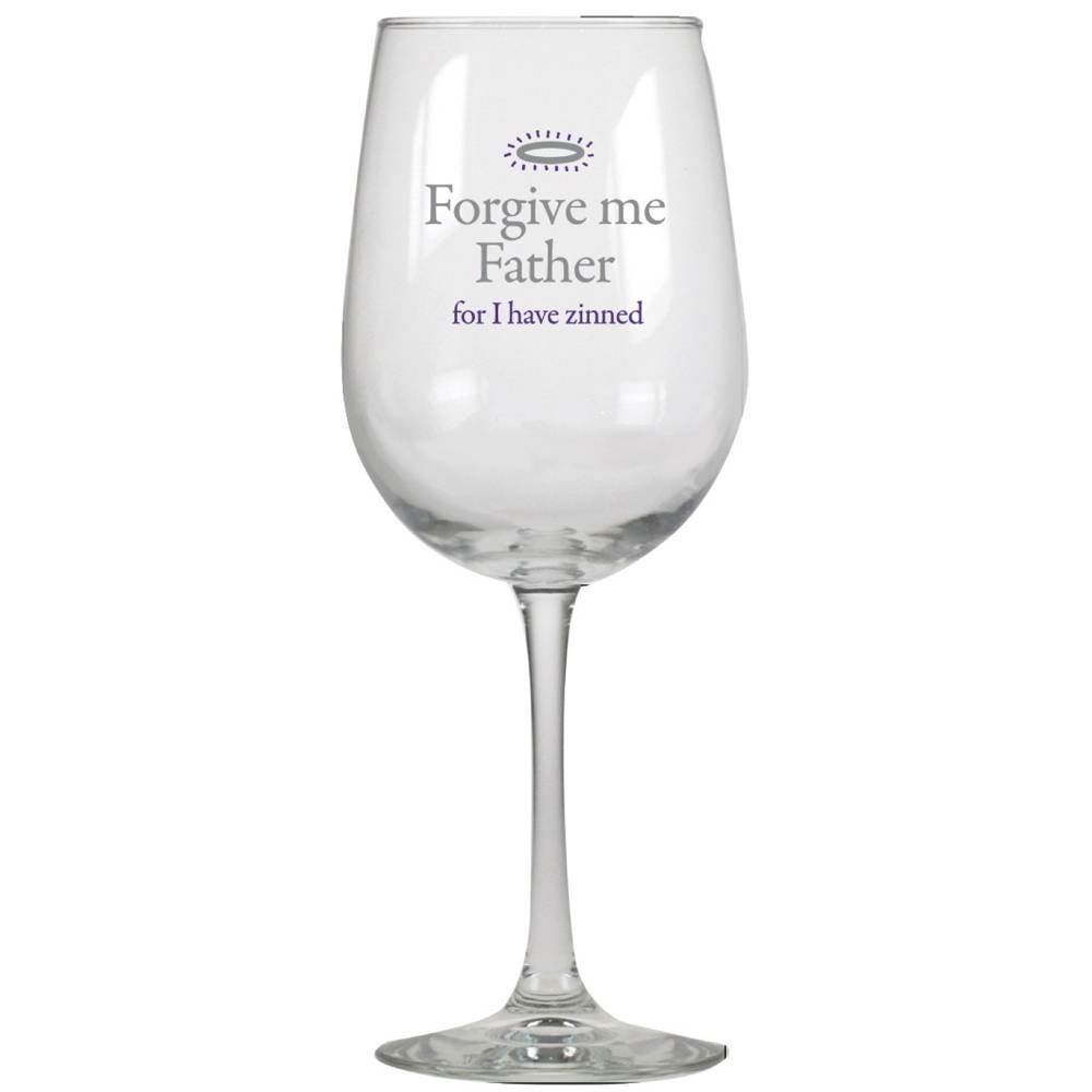 Forgive Me Father Wine Glass  cmas15d, wine glasses, humor, humorous, great gift, gift, inspirational gift, wine gift, funny gift, funny items, friend present, funny present,