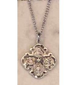 "This 4-way medal on chain makes a great gift for any special occasion.  The medal has the images of St. Christopher, the Sacred Heart, Miraculous and St. Joseph.  Medal comes in pewter finish or sterling silver.  20"" chain included"