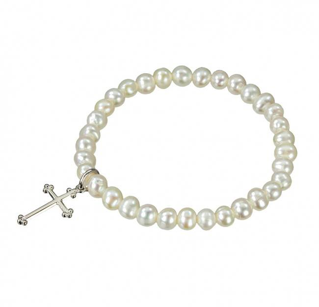 Freshwater Pearl Stretch Bracelet with Sterling Silver Cross