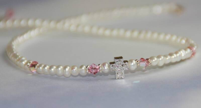 Freshwater Pearls, Pink Crystal and Cross Necklace