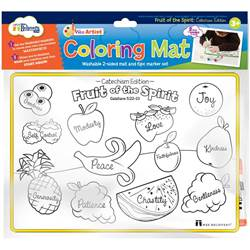 Fruit Of Spirit Coloring Mat color mat, child color mat, fruit color mat, washable markers, kid gift, child gift, art, markers,