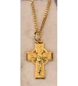 "Gold over Sterling Silver Celtic Crucifix on 18"" Gold Plated Chain / Gift Boxed"