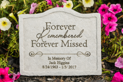 Forever Remembered…personalized memorial garden stake