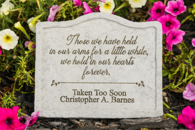 "Those we have held in our arms for a little while, we hold in our hearts forever"" Personalized Memorial Garden Stake"