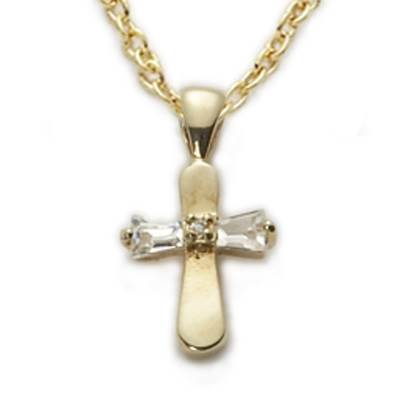 "Gold Baby Cross with Crystal Baguette on 13"" Chain"