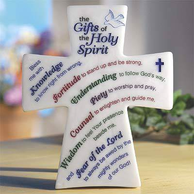 Gifts Of The Holy Spirit Cross confirmation plaque, confirmation cross, holy spirit plaque, boy gift, girl gift, wall plaque, standing plaque