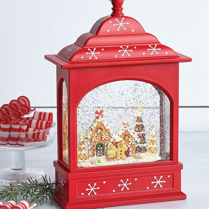 Gingerbread Lighted Water Lantern 11""