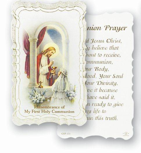 Girl Communion Prayer Holy Card With Gold Edges