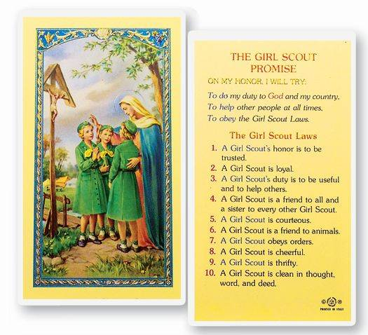 Girl Scout Promise Laminated Prayer Card