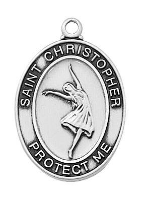 "Girl's Pewter Dance Medal On An 18"" Stainless Chain"