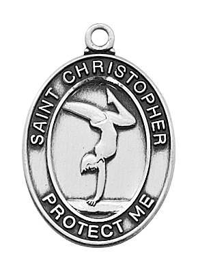 "Girl's Pewter Gymnastics Medal On An 18"" Stainless Chain"