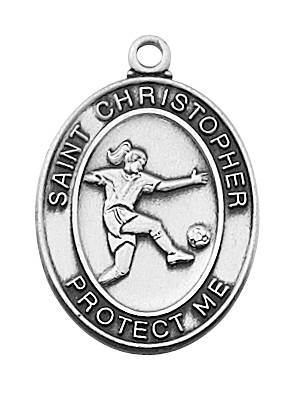 "Girl's Pewter Soccer Medal On An 18"" Stainless Chain"