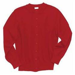 Crewneck Cardigan Sweater, Red suwu