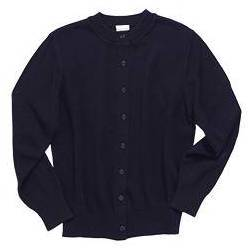 Crewneck Cardigan Sweater, Navy