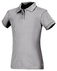 Girls Heather Grey Smooth Interlock Knit Polo Shirt