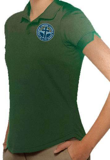 Girls Hunter Green Performance Knit Polo with SCL Logo
