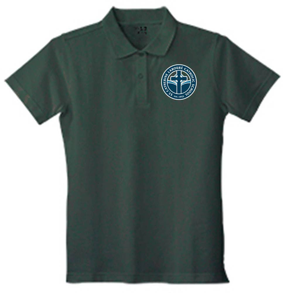 Girls Hunter Green Pique Knit Polo Shirt with SCL Logo, Short Sleeve