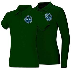 Girls Hunter Green Smooth Interlock Knit Polo Shirt with SCL Logo