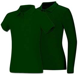 Girls Hunter Green Smooth Interlock Knit Polo Shirt