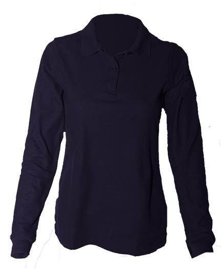 Girls Navy Pique Knit Polo Shirts, Long Sleeve uniform, shirts, girls shirt, white shirt, knit shirt, long sleeve shirt, school shirt, 2216gy