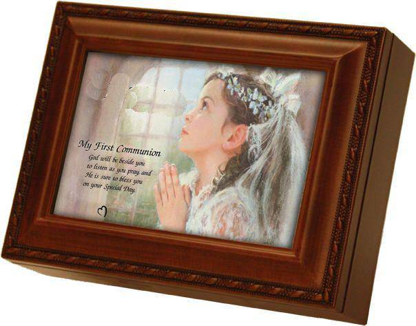 Girls Large First Communion Music Box