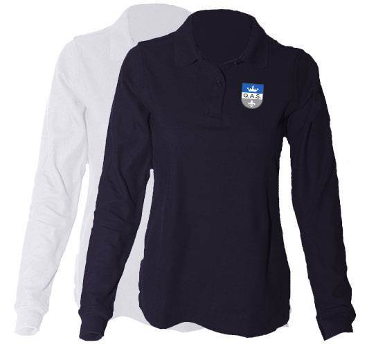 Girls Long Sleeve Pique Polo Shirt with Embroidered QAS Logo