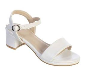 Girls Matte Block Heels, White for First Communion