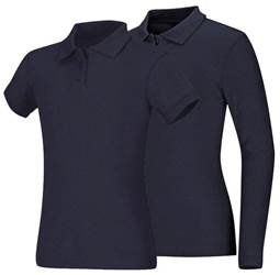 Girls Navy Pique Knit Polo Shirt