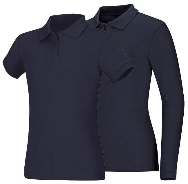 Girls Navy Smooth Interlock Knit Polo Shirt