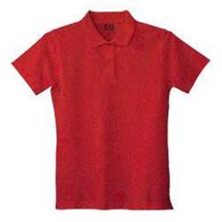 Girls Red Pique Knit Polo Shirt, Short Sleeve