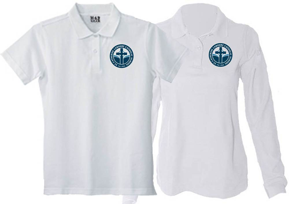 Girls White Pique Knit Polo Shirt with SCL Logo
