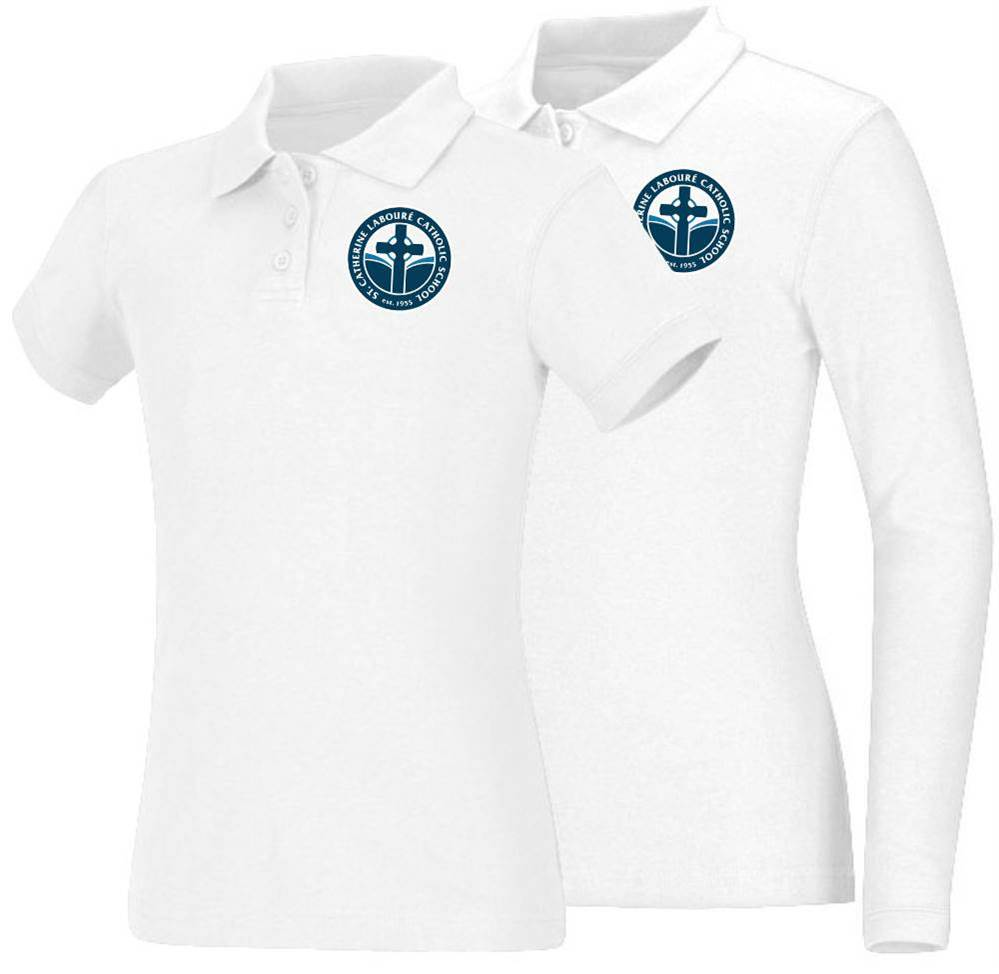 Girls White Smooth Interlock Knit Polo Shirt with SCL Logo