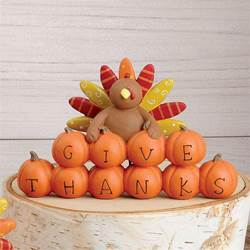 Give Thanks Pumpkins with Turkey