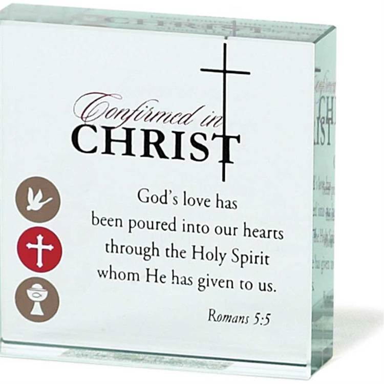 Glass Confirmation Table Top Plaque
